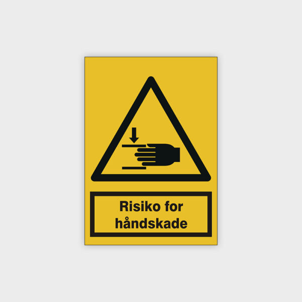 Risiko for håndskade skilt
