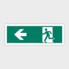 Sikkerhedsskilt: Nødudgang med pil mod venstre