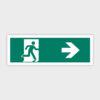 Sikkerhedsskilt: Nødudgang med pil mod højre