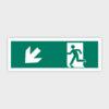 Sikkerhedsskilt: Nødudgang med pil mod venstre ned