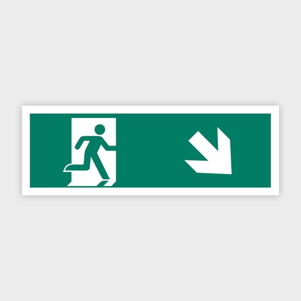 Sikkerhedsskilt: Nødudgang med pil mod højre ned