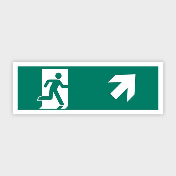 Sikkerhedsskilt: Nødudgang med pil mod højre op